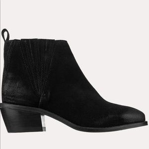 Suede/Leather Short Block Heel Booties
